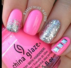 Hot pink and silver