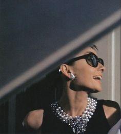 Audrey Hepburn on the set of Breakfast at Tiffany's, 1960.