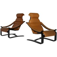 *ON SALE* Leather Danish Modern Bentwood Lounge Chairs 1