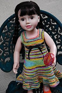 A perfectly matching dolly rainbow dress pattern for a variety of sizes of dolls. A true miniature version! Lace Knitting, Crochet Yarn, Casting Off Knitting, Dress Gloves, Yarn Brands, Knitted Dolls, Jumpers For Women, Girl Dolls, Ag Dolls