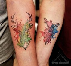 One tattoo design style that's risen significantly in popularity within the last few years is watercolor tattoos. Keep scrolling to see unique and beautiful watercolor deer tattoo Ideas and designs. Trendy Tattoos, Tattoos For Guys, Cervo Tattoo, Heart Tatoo, Doe Tattoo, Raven Tattoo, Tattoo Ink, Simple Line Tattoo, Hirsch Tattoo