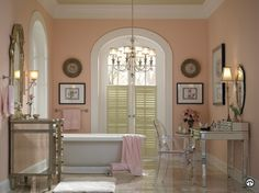 The bathroom is the first place you look at yourself every day. Consider using peach, apricot and salmon pinks to provide a warm, rosy glow