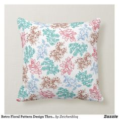 Retro Floral Pattern Design Throw Pillow - a decorative pattern design of many colorful plants, leaves, flowers on a throw pillow Colorful Plants, Retro Floral, Poufs, Accent Pillows, Decorative Throw Pillows, Watercolor Art, Pattern Design, Leaves, Flowers