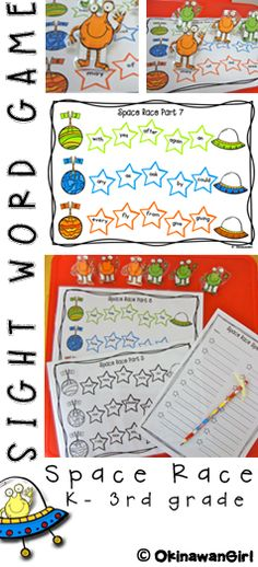 Race your aliens across the stars by reading and/or spelling Dolch sight words!  15 game boards in color and black and white.  Easy to differentiate as each boards vocabulary is organised in order of the Dolch sight word list.  $
