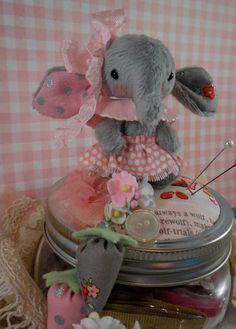 ooak elephant pincushion mason jar by LittleBearPaws on Etsy