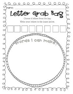 I like the idea of a letter grab bag for a center.