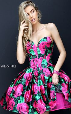 Fuchsia A Line Sherri Hill 50579 Short Homecoming Dress
