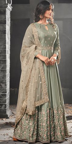 Bollywood Green color Salwar Kameez in Satin Silk fabric with Abaya, Anarkali Embroidered, Resham, Thread, Zari work Fashion Designer, Indian Designer Wear, Designer Dresses, Abaya Fashion, Indian Fashion, Fashion Dresses, Designer Anarkali, Pakistani Outfits, Indian Outfits