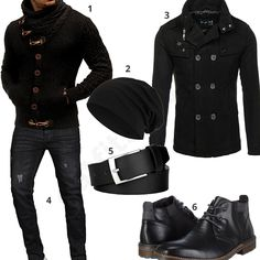 Black mens outfit with knit sweater and coat - outfits4you.com