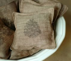 linen stamped sachets