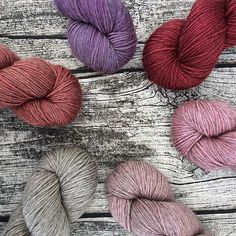 Kettle Yarn Co. (@kettleyarnco) •This week's shop update is all about thicker, warmer yarns. I've got two new colours and some restocked hues in Islington DK and Beyul DK. The two blends can easily be used together as they are exactly the same thickness.  Yarns shown from top left: Beyul Rhubarb, Boysenberry, NEW Islington DK Sangria, NEW Beyul Fleur, Balsam, Yurt.