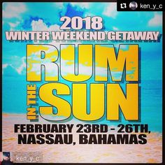 #Repost @ken_y_c  A little something for all my peeps that know me from producing dope ass winter weekend getaways with Something Blue/UrbEn Pro... ya boy is back with the weekend getaway ON STEROIDS!!! FRIDAY FEB 23 TO MONDAY FEB 26 2018 'RUM IN THE SUN' WINTER WEEKEND GETAWAY  TO SUNNY NASSAU BAHAMAS  STAYING AT THE  ALL INCLUSIVE BREEZES RESPORT AND SPA  This is the only way to kick off 2018 and definitely a real winter getaway... TRADE IN THE SNOW AND ICE FOR SAND AND SUN