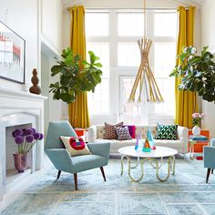 Modern furniture outdoor interior design 42 ideas for 2019 Living Room Decor Colors, Colourful Living Room, Eclectic Living Room, New Living Room, Living Room Designs, Living Room With Color, Living Room Yellow, Colourful Home, Vintage Modern Living Room