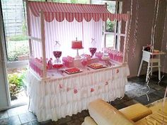 Pink striped canopy for parties, corporate events