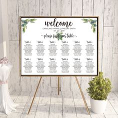 Printable Wedding Seating Chart - Watercolor Eucalyptus Wedding BoHo Table Seating Plan - Calligraphy Wedding Stationery Greenery Eucalyptus by OnionSisterCreative on Etsy