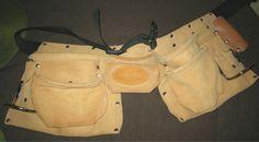 Bucket Boss 11 Pocket Suede Leather Tool Carpenter Belt, Hammer Hooks Xlnt Cond #OriginalBucketBoss