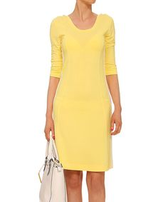 Yuliya Babich Yellow Ribbed Sheath Dress | zulily