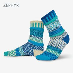 Made in the USA with recycled cotton yarns, these socks are the perfect addition to any outfit! Reminiscent of a sea breeze in summertime, our Zephyr socks are truly unique in our lineup with their monochromatic grouping. Solmate Socks, Blue Socks, Knit Socks, Matching Socks, Fair Isle Knitting Patterns, Sock Crafts, Retro Apron, Thing 1, Colorful Socks