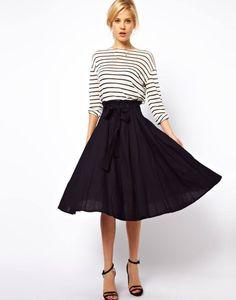 Black midi and black/white stripe top