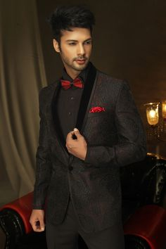 The Stylish #Wine pure #silk fascinating prince #suit with shawl lapel and full sleeves is stitched to #perfection for the wedding eve, with an #embroidered work which completes the garment as the perfect one for your special day.