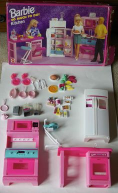 Rare 1995 SO MUCH TO DO! KITCHEN Barbie/ARCO Stove & Refrigerator Set_67158