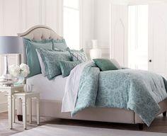 Queen Size Blue Comforter Set Damask 5 Piece Cotton Bedding #Unbranded
