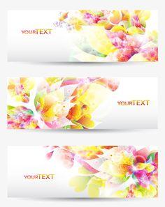 Abstract Petal elements banner vector 01