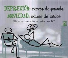 Depressão e ansiedade em uma análise simples. A primeira, excesso de passado. A segunda, excesso de futuro. A opção mais saudável é... viver o presente! #Psicologia