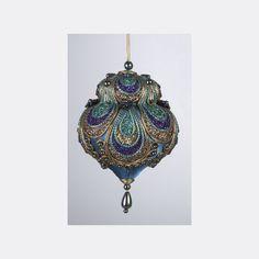 Peacock Glittered and Beaded Satin Teardrop Christmas Ornament