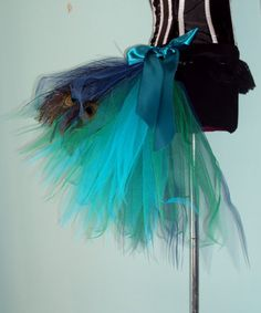 French Navy Blue Teal Peacock Feathers Burlesque Tutu Bustle Belt Size 4 U
