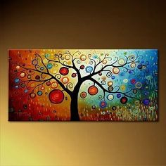 Painting something like this over an old canvas this weekend. Easy enough: ombre background, tree, circles...maybe a little grass....yes!