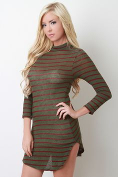 Stripe Knit Mock Neck Mini Dress