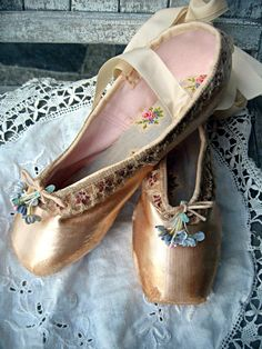 Altered ballet pointe/toe shoes distressed by LittleBeachDesigns, $64.00