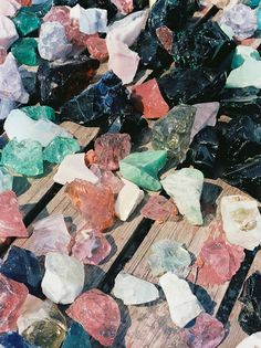 pink, mint, and charcoal minerals