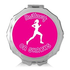 Personalized Running Girl Color Compact Mirror -LT - A full color personalized design adorns this compact mirror.  This silver plated mirror features a double sided mirror when opened and makes a special and useful gift for an athlete.