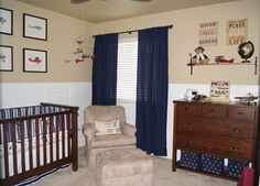 navy nursery with khaki walls be cute to incorporate into a Red Sox room