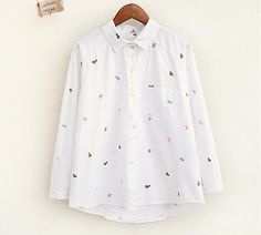 Graphic embroidery single pocket turn-down collar shirt blouse autumn women mori girl