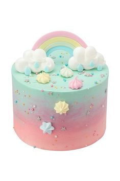 The cake shown on the image is a 6 inch.This Cake will be supplied on a silver cake board. Upon request an ivory ice… - rainbow Baby Birthday Cakes, Rainbow Birthday Party, Bolo Tumblr, Peggy Porschen Cakes, Cloud Cake, Cake Show, Silver Cake, Cake Board, Drip Cakes