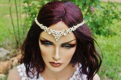 Bridal Gold Rhinestone Headband Art Deco Tiara by EleganceAtHand