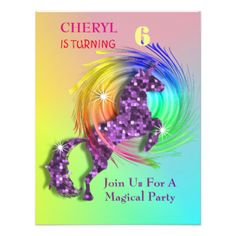 A fun magical birthday party invitation with a purple sparkle effect Unicorn jumping through a colorful rainbow, so cute and a favorite with young girls; just customize it with your birthday girl's personal birthday party details.