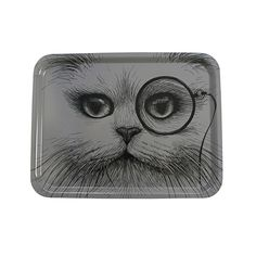 Discover+the+Rory+Dobner+Large+Rectangular+Tray+-+Grey+Cat+with+Monocle+at+Amara