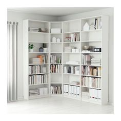 """BILLY Bookcase - white - IKEA Product dimensions Depth: 11 """" Height: 93 1/4 """" Width right: 84 5/8 """" Width left: 53 1/8"""