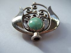 Art Nouveau / Jugendstil / Secessionist / Arts and Crafts sterling silver and turquoise brooch. Handmade. #39. View 4.