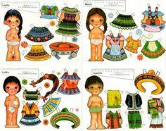 (⑅ ॣ•͈ᴗ•͈ ॣ)                                                            ✄Bonecas de Papel: Bonecas do Mundo