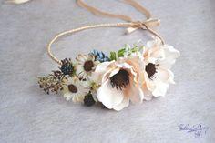 Boho flower crown Woodland hair wreath Anemone Bridal floral hair accessory Fall  Wedding floral crown Rustic flower wreath  cream crown