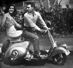 Vespa couple, ca 1950