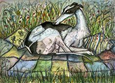 A Precious Moment- GREETING CARD Greyhound Dog  Art Print. £2.50, via Etsy.