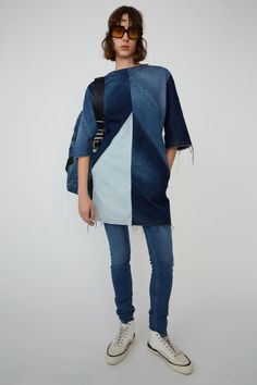 """Acne Studio is well known for men's and women's ready to wear fashion,accessories and of course denim . Their new jeans collection under the name Acne Studios Blå Konst (meaning """"Blue Art"""" in Swedish) has recently been launched at all of their retai Dark Denim Jeans, Wide Leg Denim, Denim Fashion, 90s Fashion, Redone Jeans, Vintage Denim, Acne Studios, Work Wear, Ready To Wear"""
