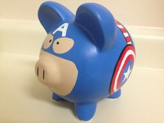 Captain America Painted Ceramic Piggy Bank by KaleyCrafts on Etsy