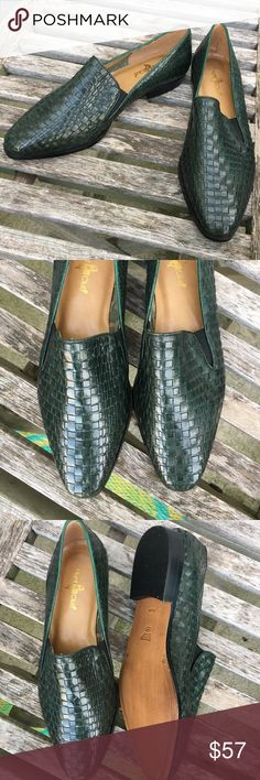 """Vintage 1990's Woven Leather Slip On Loafers Classic vintage early 1990's evergreen leather slip on loafers. 100% genuine leather upper. Man made sole. Woven leather detail. Slip on style loafers. Women's size 8 1/2, medium width. There looks to be the initials """"BK"""" in silver marker on one of the shoes soles, but other than that they are in excellent vintage condition. They look like they've not been worn. Vintage Shoes Flats & Loafers"""